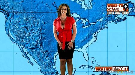 Шикарный секс с полногрудой ведущей прогноза погоды был неожиданным и спонтанным для сотрудника